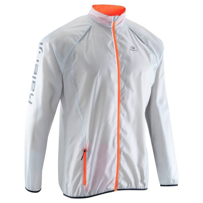 quality products fantastic savings outlet store sale Avis Kalenji VESTE COUPE-VENT TRAIL RUNNING HOMME GRIS ORANGE